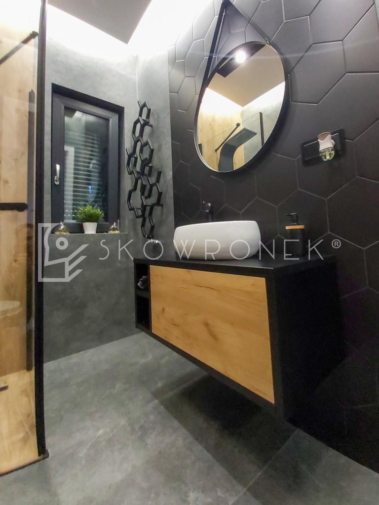 łazienka nowoczesna drewno czarny mat craft złoty 2